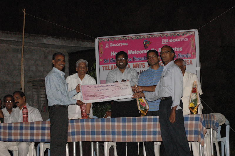 TeNA contributed to School building fund, Sai Seva Trust, Warangal, AP