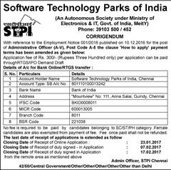 STPI Corrigendum Notice 2017