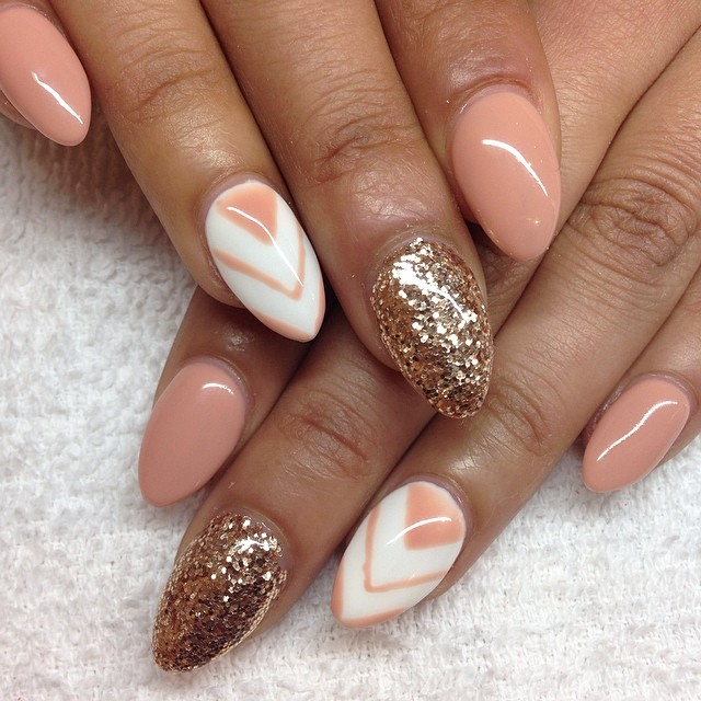215 awesome acrylic nail designs 2016 youll want to copy this prevents overcrowding and makes the nails look nice rather than immoderate what is more the mixture of white and peach is nice for creating a sober prinsesfo Image collections