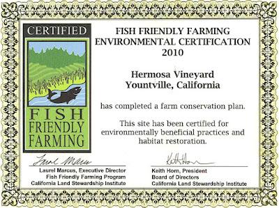 Hermosa Vineyard Fish Friendly Farming Certificate