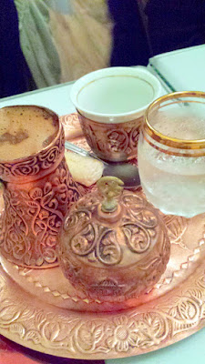 Kafa, a Sarajevo style Minas coffee. Made and served as it was when Sarajevo introduced coffee to Europe in the 1500s. Made and served in traditional dzezva, includes mineral water, sugar cubes and lokum (a cookie). At Drina Daisy, a Bosnian Restaurant in Astoria, OR