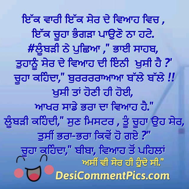 Asi bhi kade sher hunda c Punjabi Funny Desi Comments Pics