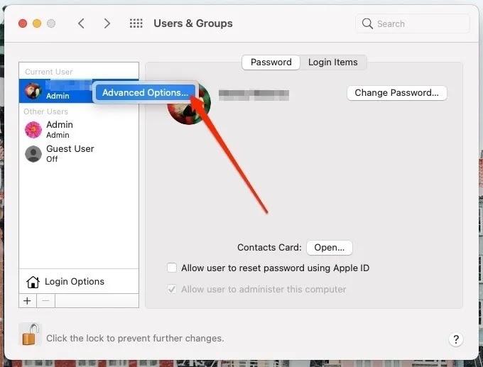 لقطة شاشة توضح كيفية الوصول إلى الخيارات المتقدمة على جهاز Mac