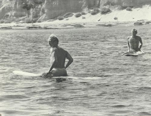 Waiting for a set with surfer/screenwriter Dennis Aaberg during the filming of 'Big Wednesday' 1978.