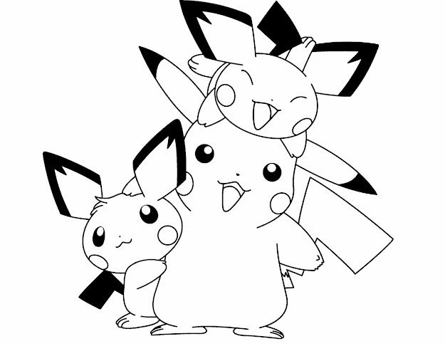 Pokemon Pikachu And Two Friends Are Cute Coloring Page Pikachu On Cute  Coloring Pages