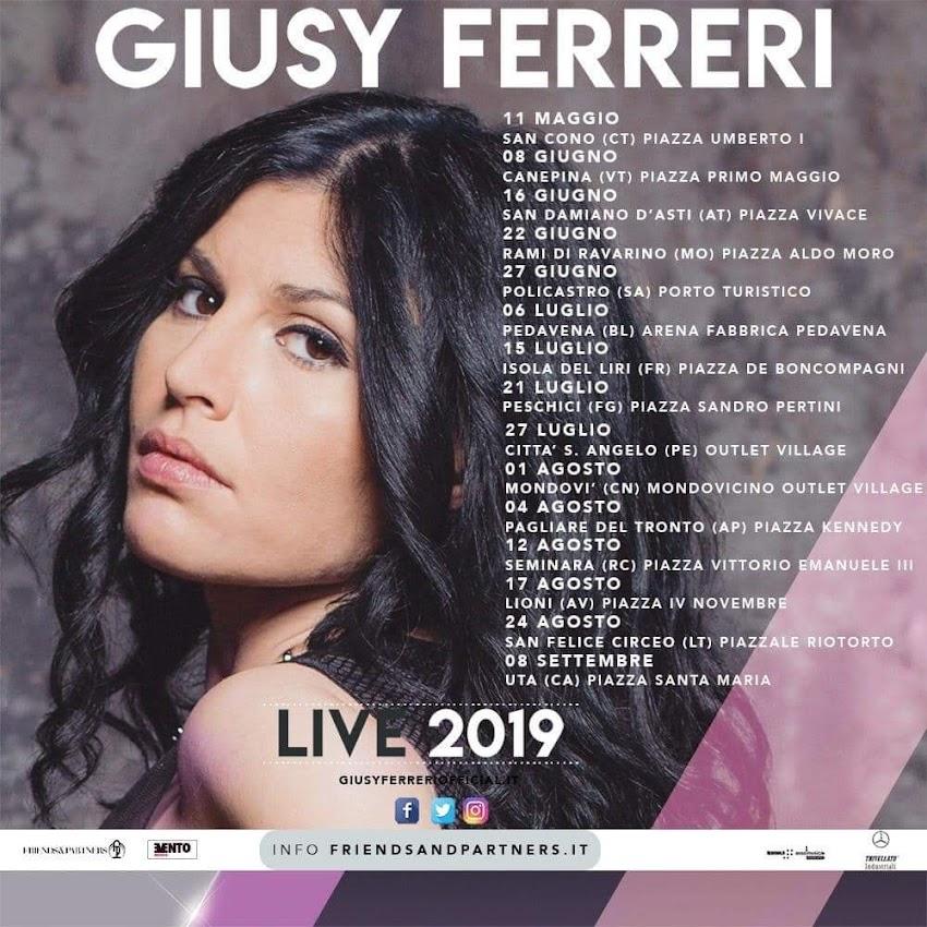 Ecco che Giusy Ferreri annuncia  le prime date del tour live estivo 2019!