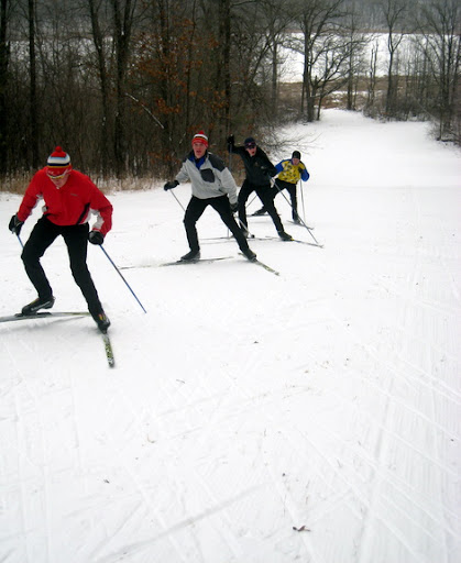 Wayzata skiers coming up Suicide Hill.