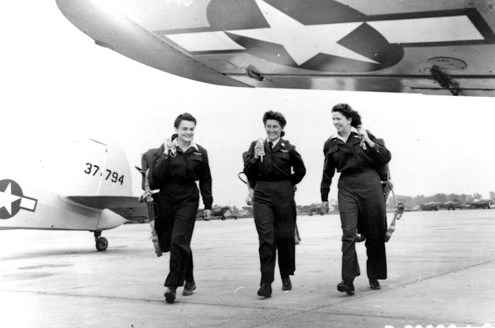 Romulus ferry pilots: Mary Ann Beard, 43-5, Janet Zuchowski 43-4, and Marion Schorr, 43-2. Courtesy WASP Archive, Texas Woman's University, Denton, TX. From WASP of the Ferry Command: Women Pilots, Uncommon Deeds