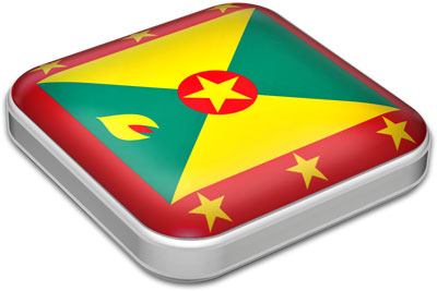 Flag of Grenada with metallic square frame