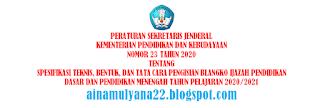 Juknis Pengisian atau Penulisan Blangko Ijazah SD SMP SMA SMK Tahun 2021 Tahun Pelajaran 2020/2021