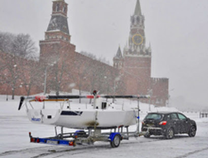 J/70 in Moscow's Red Square- Kremlin in the background