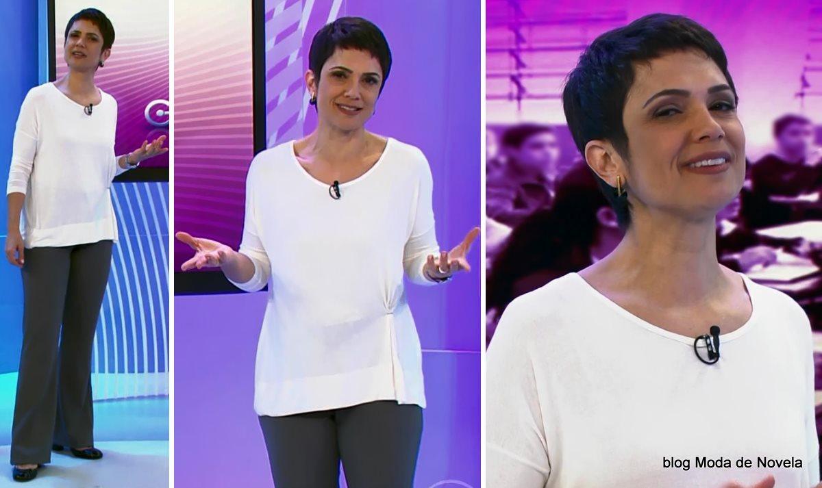 moda do programa Globo Ação - look da Sandra Annenberg dia 28 de junho