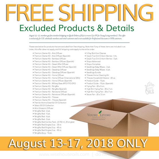 Young Living FREE SHIPPING Details WHO