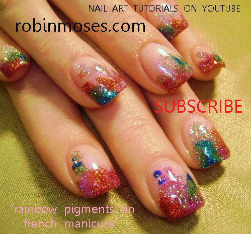 Spring break nail art silver chrome nail art rainbow glitter an error occurred prinsesfo Images