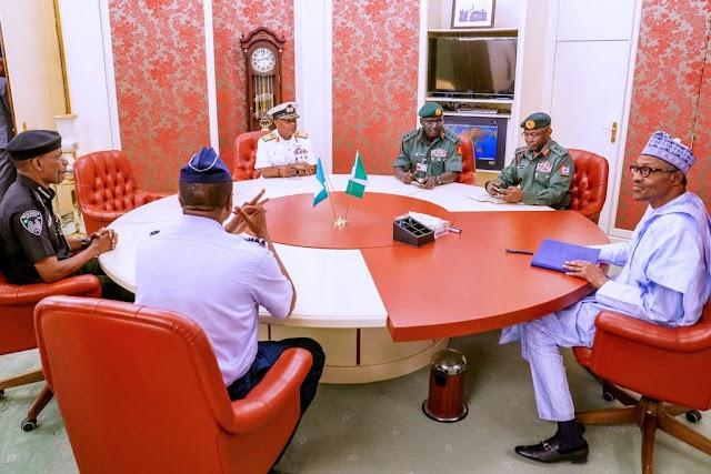 Insecurity: Buhari, Osinbajo, Security Chiefs, Others Meet In Aso Rock