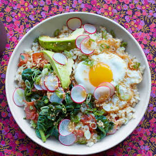 Brown Rice Bowl With Egg and Avocado.