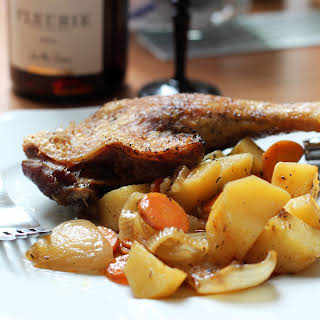 Crispy Duck Legs with Roasted Vegetables.