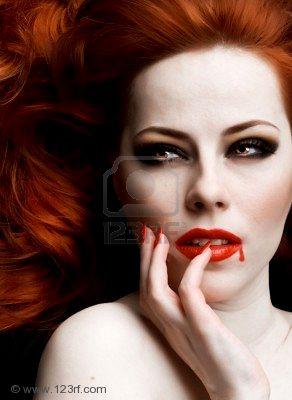 Closeup Portrait Of Beautiful Redhead Vampire Woman, Vampire Girls 2