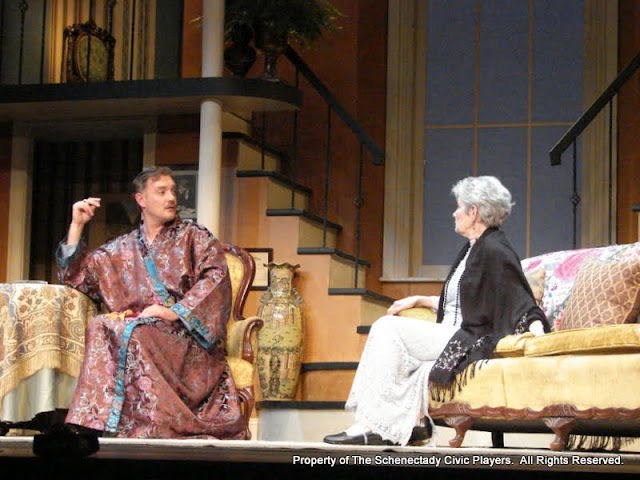 Randy McConnach and Joanne Westervelt in THE ROYAL FAMILY (R) - December 2011.  Property of The Schenectady Civic Players Theater Archive.