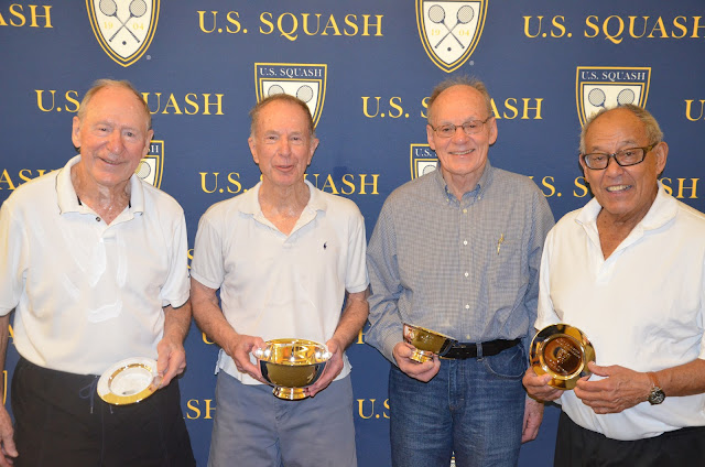 2013 US Masters players in the 80+ flight: Doug Allen, Phil Leis, Lee Engler, and Charlie Butt