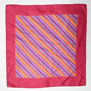 Hermès Pink Stripped Handkerchief Scarf