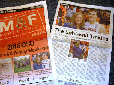 OSU basketball player and his mother feature in student newspaper for Mom's weekend Barometer, Apr. 29, 3016, p. 1, 3-4