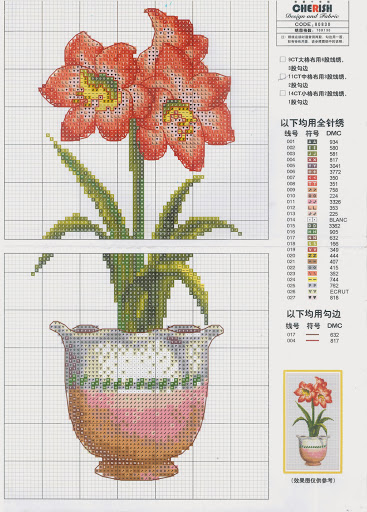 Pot flowers No4cross stitch pattern