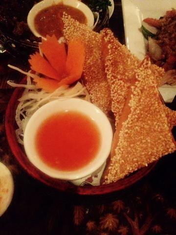 Prawn toast with sweet chilli dip at Kinkao Thai Restaurant, Brick Lane