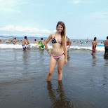heather at enoshima beach in japan in Fujisawa, Kanagawa, Japan