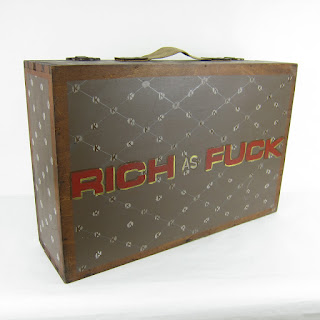 """""""Rich as F**K"""" Hand Painted Suitcase"""