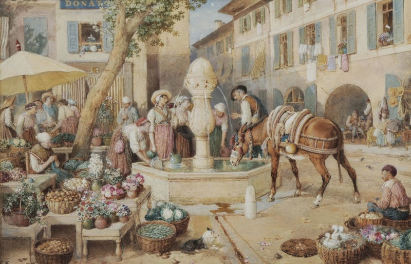 Myles Birket Foster - The Fountain at Toulon