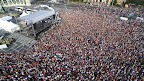 Drónnal készült felvétel a franciaországi labdarúgó Európa-bajnokságról hazatérő magyar labdarúgó-válogatott ünneplésére összegyűlt tömegről, Hősök tere, Budapest, 2016. június 27. (MTI Fotó: Ruzsa István)