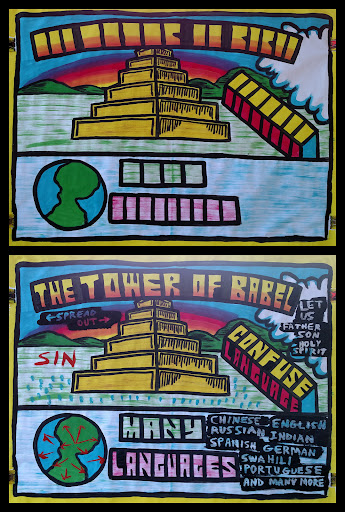 """In Part 2, we learned about the Tower of Babel. God is sovereign and powerful and WILL get His way, and we can obey and have """"the easy way"""" or disobey and have """"the hard way.""""  After God preserved the human race through Noah, He commanded everyone to spread out through the world. People refused to obey God (sin), and instead built a large tower to try to be like God (sin.)   Interestingly, God referred to Himself in the plural (God said, """"Let US,"""" a reference to the Trinity.)  To make the people do what they were told, (spread out throughout the earth,) God confused their language and made many many languages.   The people who spoke the same language grouped together and spread out throughout the earth, the very thing God commanded them to do from the start, but that they refused to do.  In the end, God got His way (of course!) but people received the consequences for disobedience.   This has great application for us today and is a great part of this 5-part series."""
