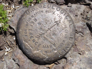 Photo of a US Geological Survey marker on top of Noble Knob on July 9, 2006. Photo by Nick Peyton.