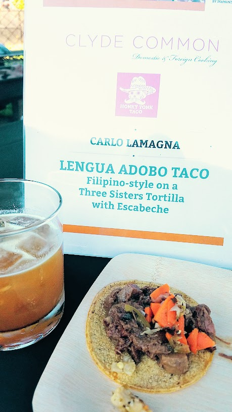 Carlo Lamagna of Clyde Common and Honky Tonk Taco at CigarBQue Portland 2016 offered Lengua Adobo Taco Filipino-style on a Three Sisters Tortilla with Escabeche