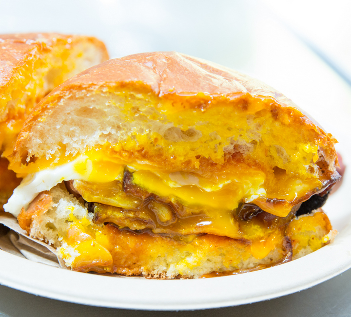 close-up photo of Bacon, Egg, Cheese sandwich