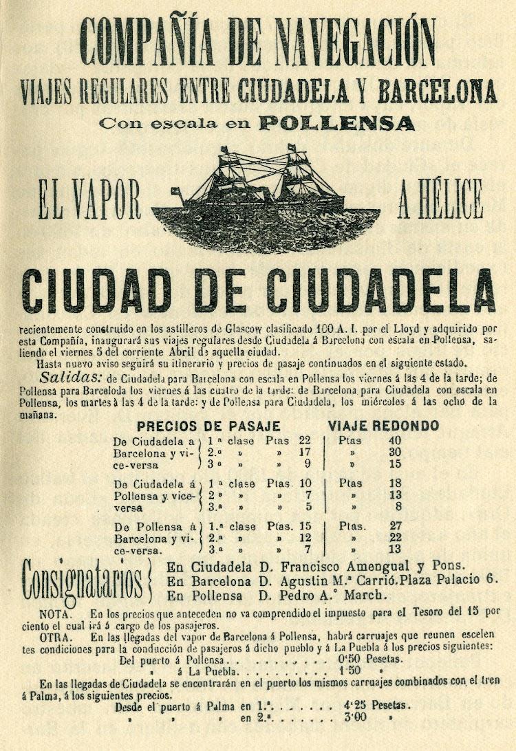 Anuncio de servicios del vapor CIUDADELA. Del libro Los buques que han llevado el nombre de Ciudadela.jpg