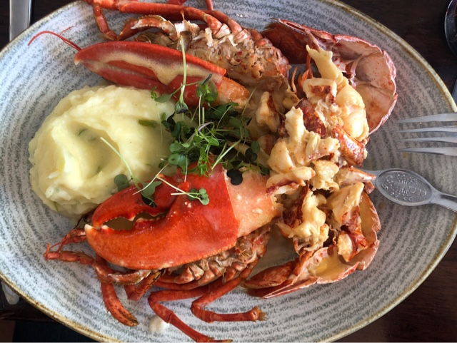 Lobster Thermidor : steamed local lobster out of the shell, finished wth mustard sauce and house mash