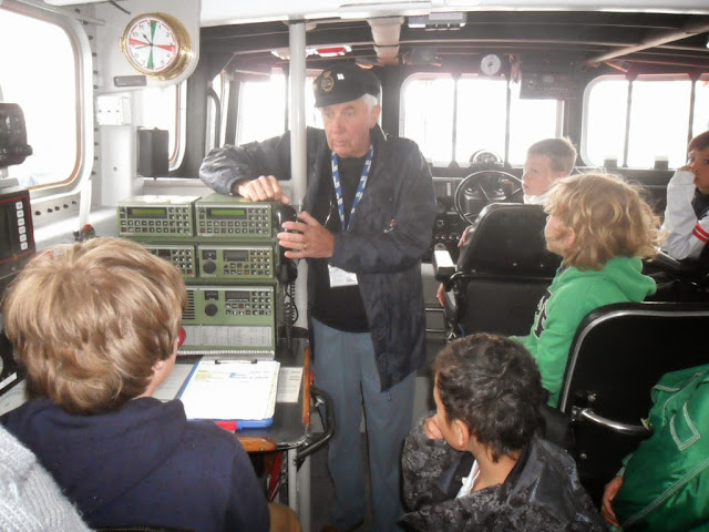 Volunteer Bob Grieve answers questions from pupils aboard the ALB - May 2013