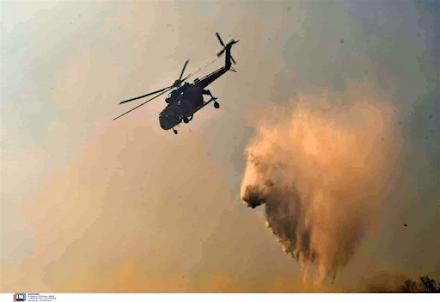 Κιλκίς : Μεγάλη φωτιά στο δάσος του Σκρα σε δύσβατο σημείο