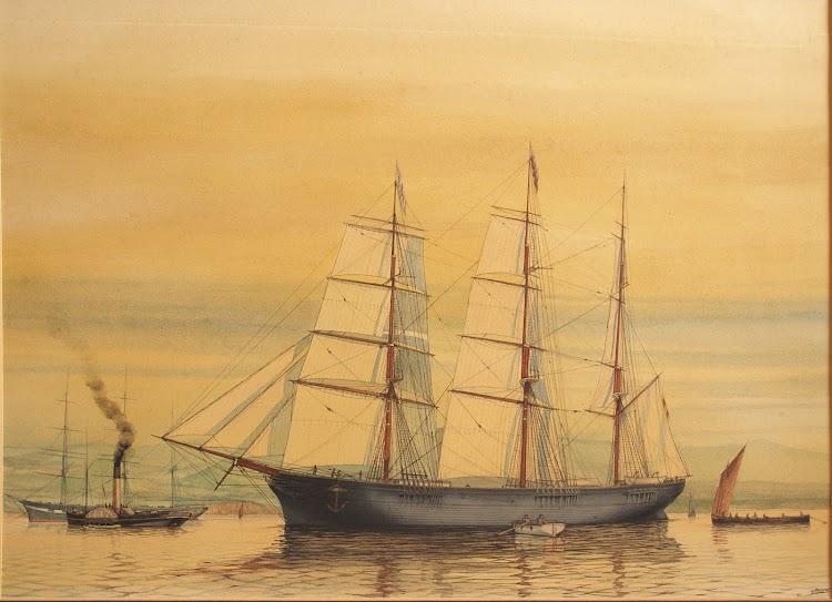 Fragata DON JUAN en el puerto de Santander. Acuarela ultrarealista pintado por Emilio Trigos. Nuestro agradecimiento.tif