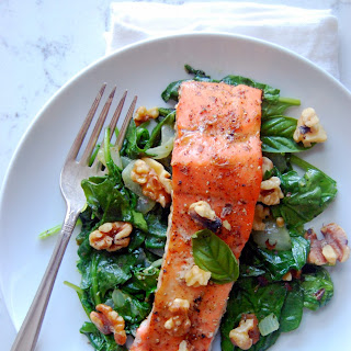 Glazed Dijon Salmon with Wilted Garlic Basil Spinach
