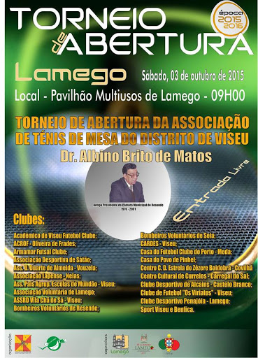 Programa - Torneio de Abertura da Associação de Ténis de Mesa do Distrito de Viseu - Lamego