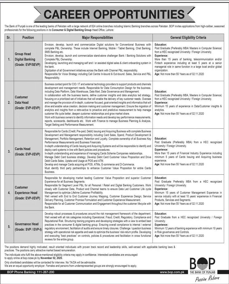 The Bank of Punjab BOP Jobs October 2020