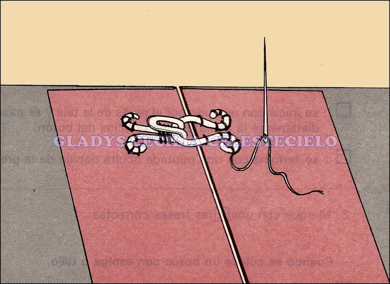 Forma de coser broches de presión y de garabato