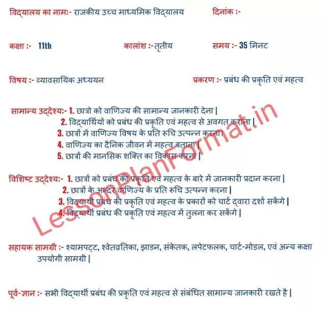 B.ed Lesson Plan for Business Studies in Hindi