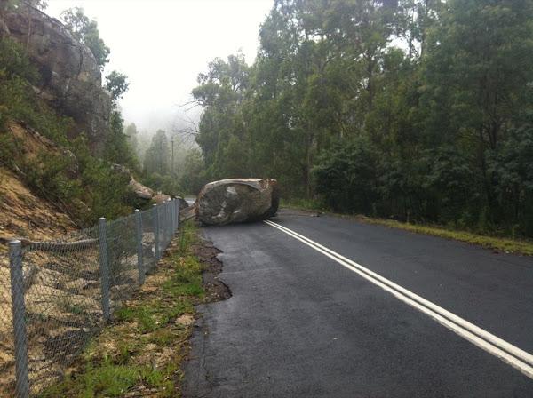 corin dam road rockslide