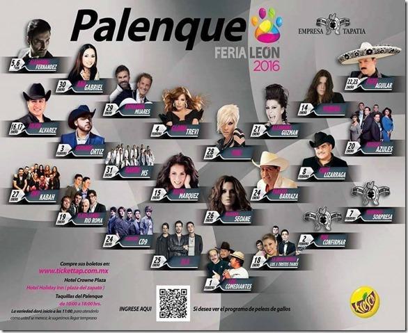 Palenque Feria de Leon 2016 Cartelera Conciertos Fechas Programa artistas boletos gratis cuando y donde empieza la venta de boletos