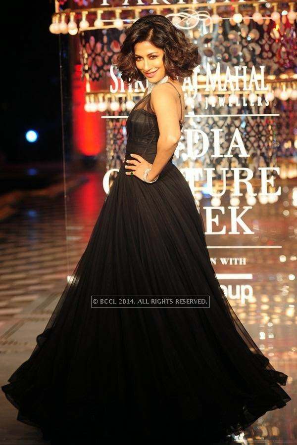 Bollywood actress Chitrangada Singh walks the ramp for Shree Raj Mahal Jewellers on Day 6 of India Couture Week, 2014, held at Taj Palace hotel, New Delhi.