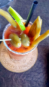 First National Taphouse Portland Bloody Mary with Vodka, Tomato Juice, Tomato Consome, Veal Stock, Lemon, Aardvark Hot Sauce, Cerignola Olives, House Pickled Green Beans and Smoked Salt